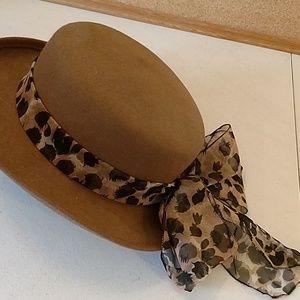 Vintage ladies wool hat with animal print scarf